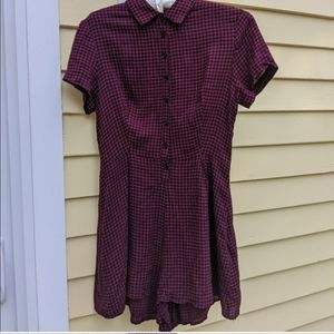 URBAN OUTFITTERS Maroon Short-Sleeve Romper